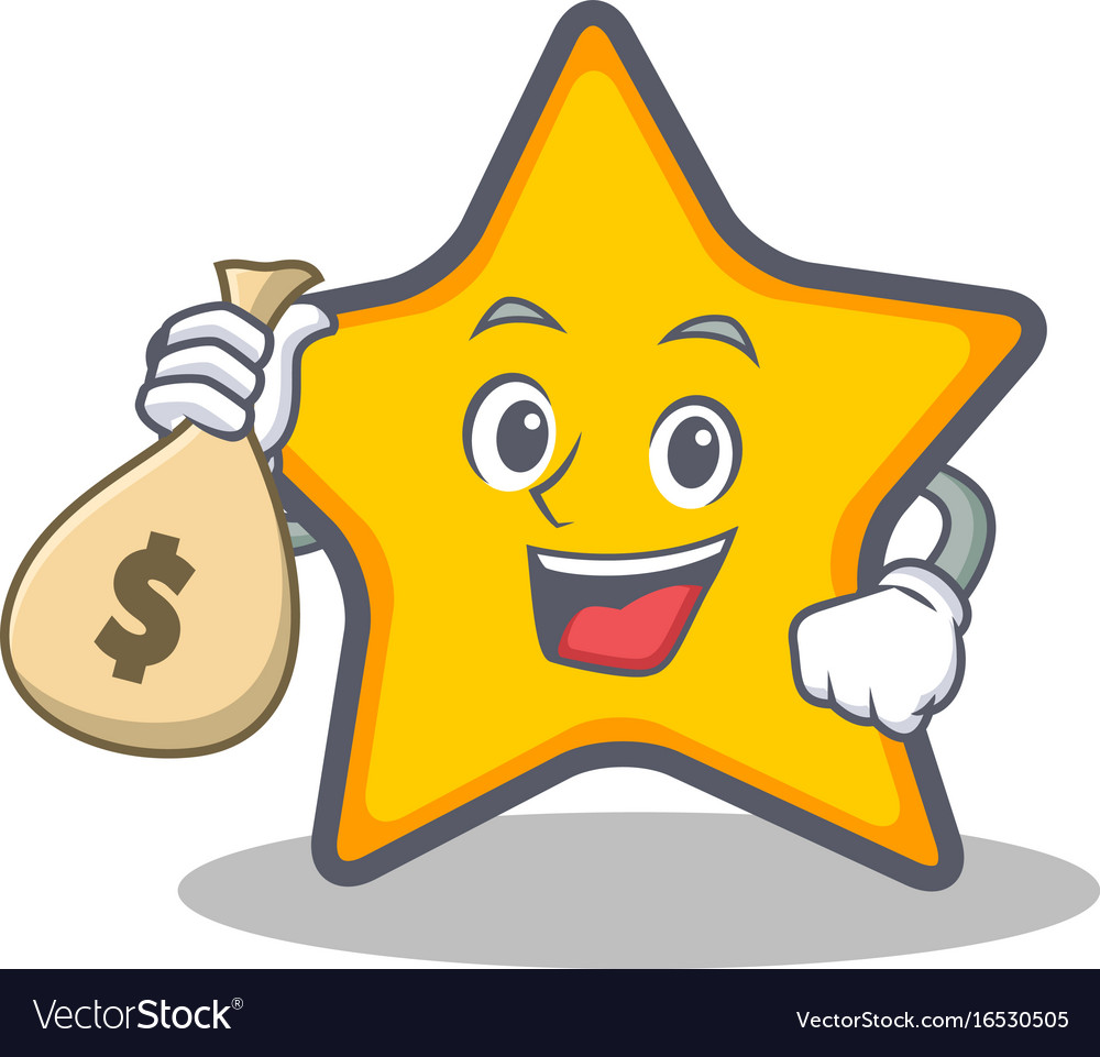 With money bag star character cartoon style