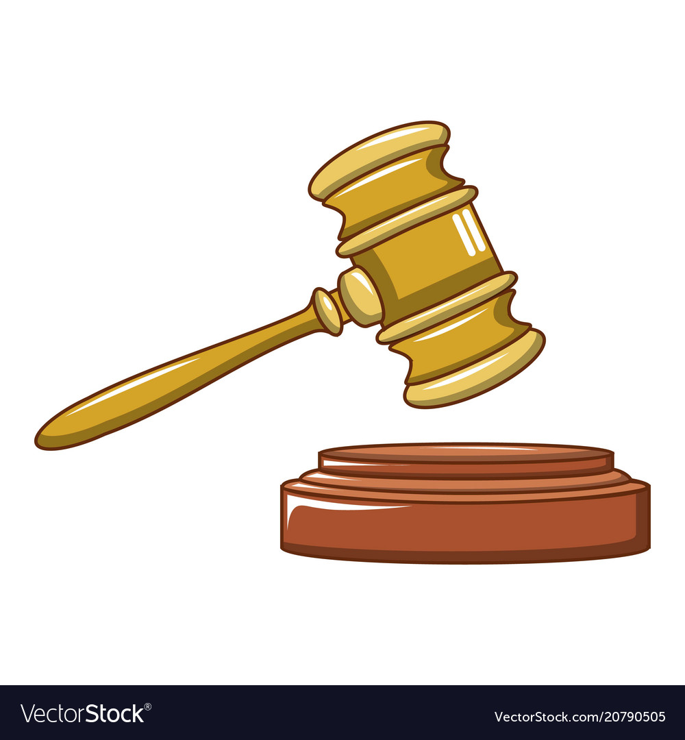 Wood judge gavel icon cartoon style