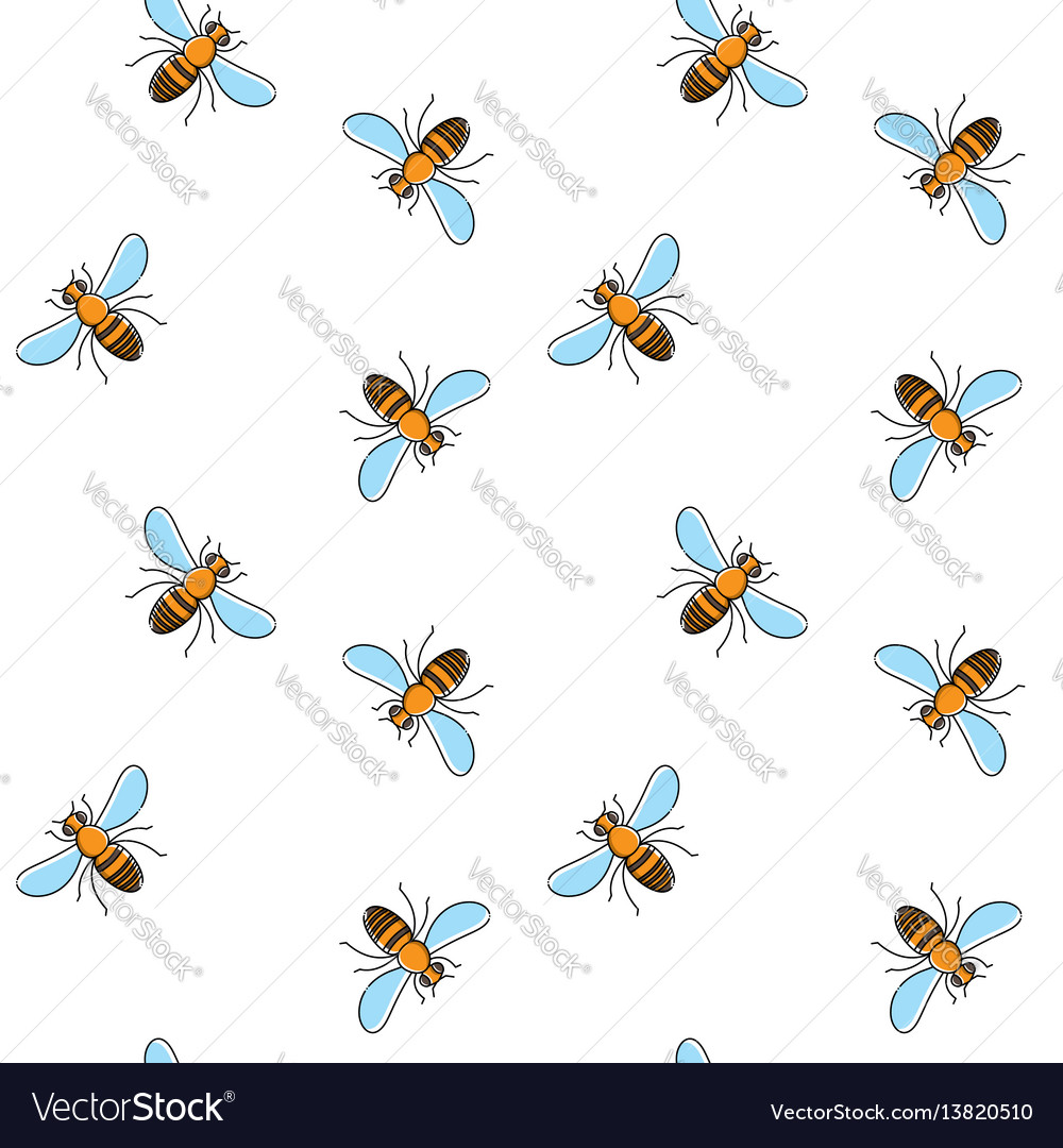 Bee seamless pattern for textile design wallpaper vector image