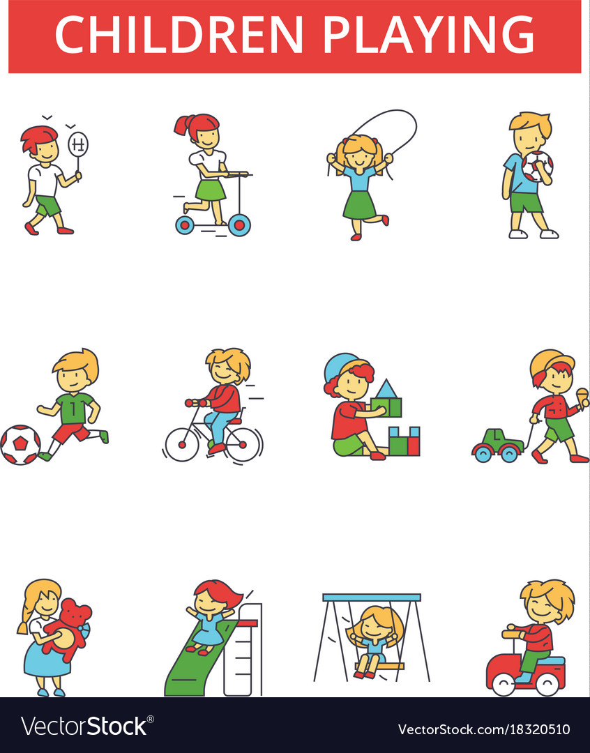 Children playing thin line icons