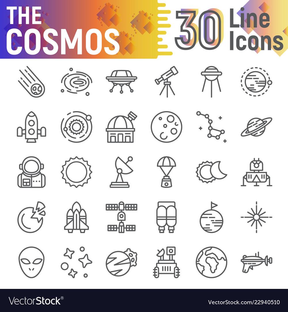 Cosmos line icon set space symbols collection