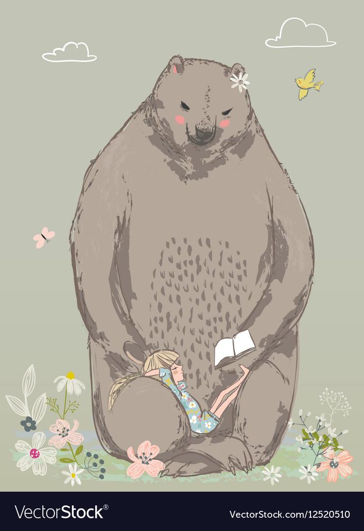 Cute bear with little girl vector image