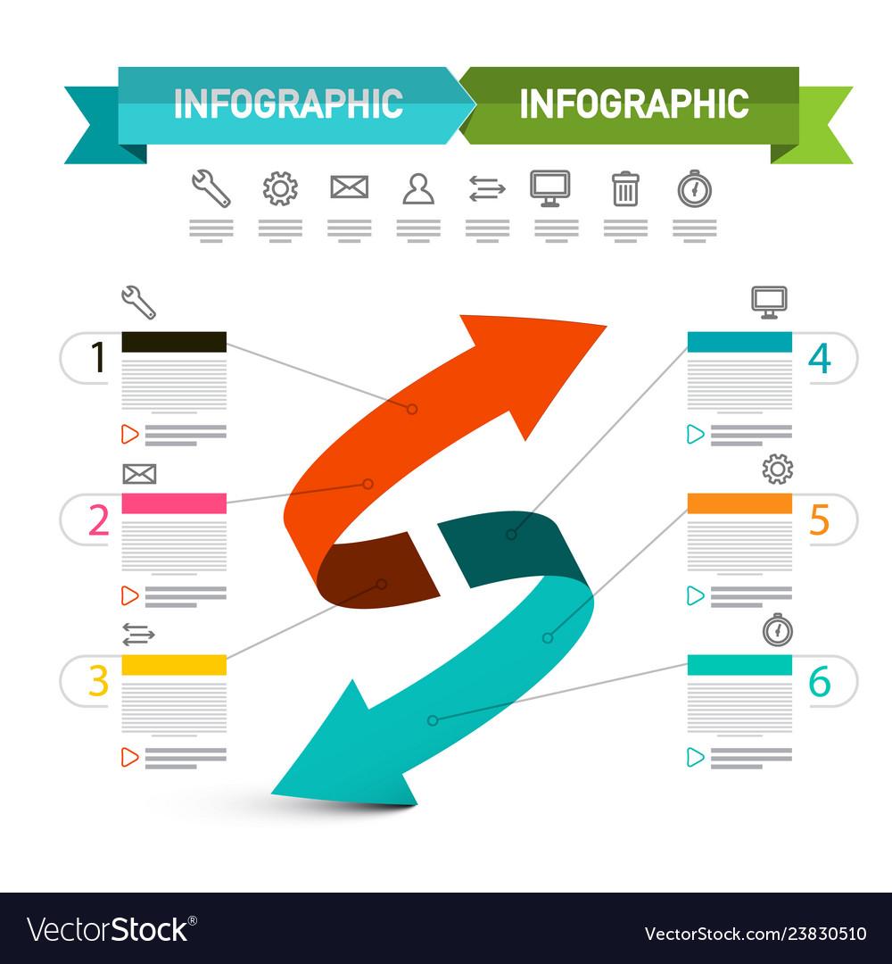 Double arrow presentation concept infographic