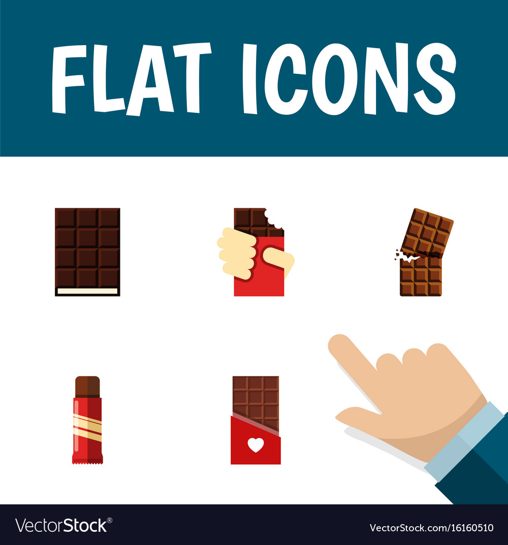 Flat icon cacao set of chocolate sweet dessert vector image