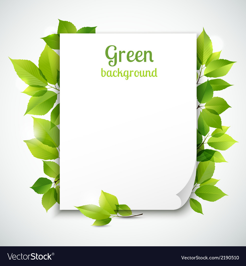 green leaves frame template royalty free vector image
