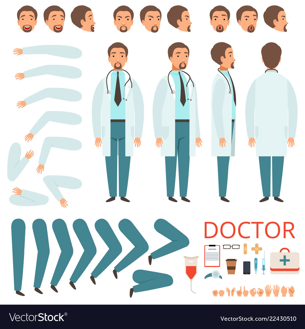 Male doctor animation hospital staff character