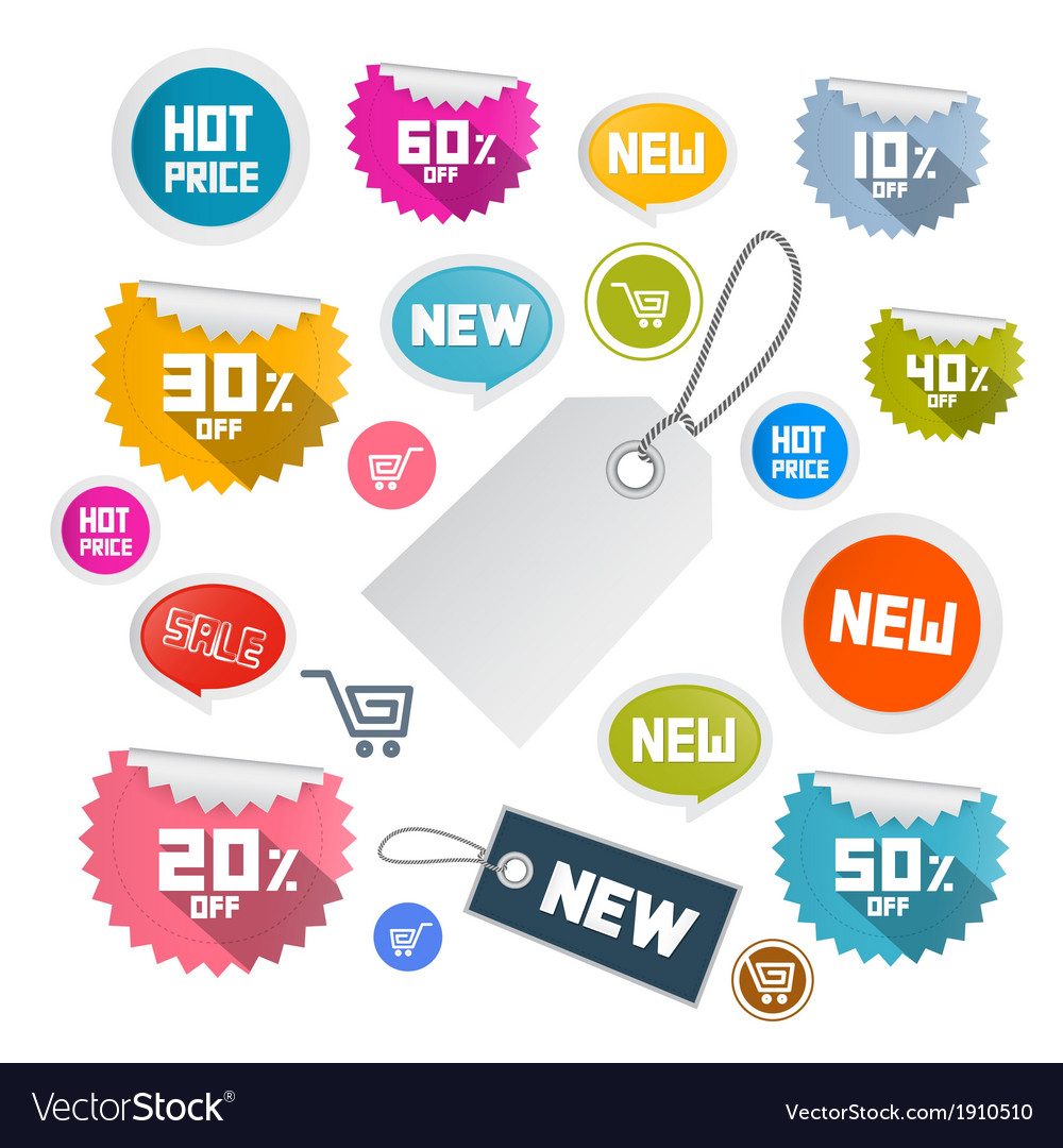 Set of Colorful Retro Paper Discount Labels Tags