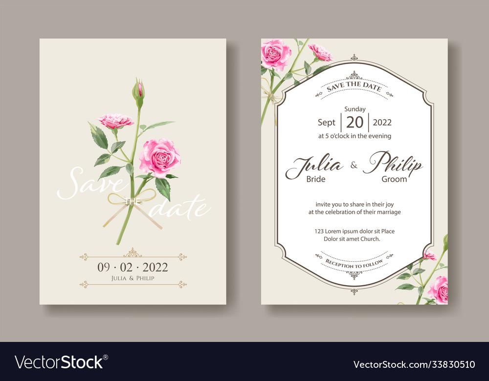 Set vintage wedding cards save date
