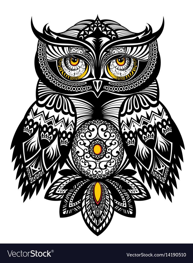 tattoo art owl royalty free vector image vectorstock rh vectorstock com owl clip art vector vector owl family clipart