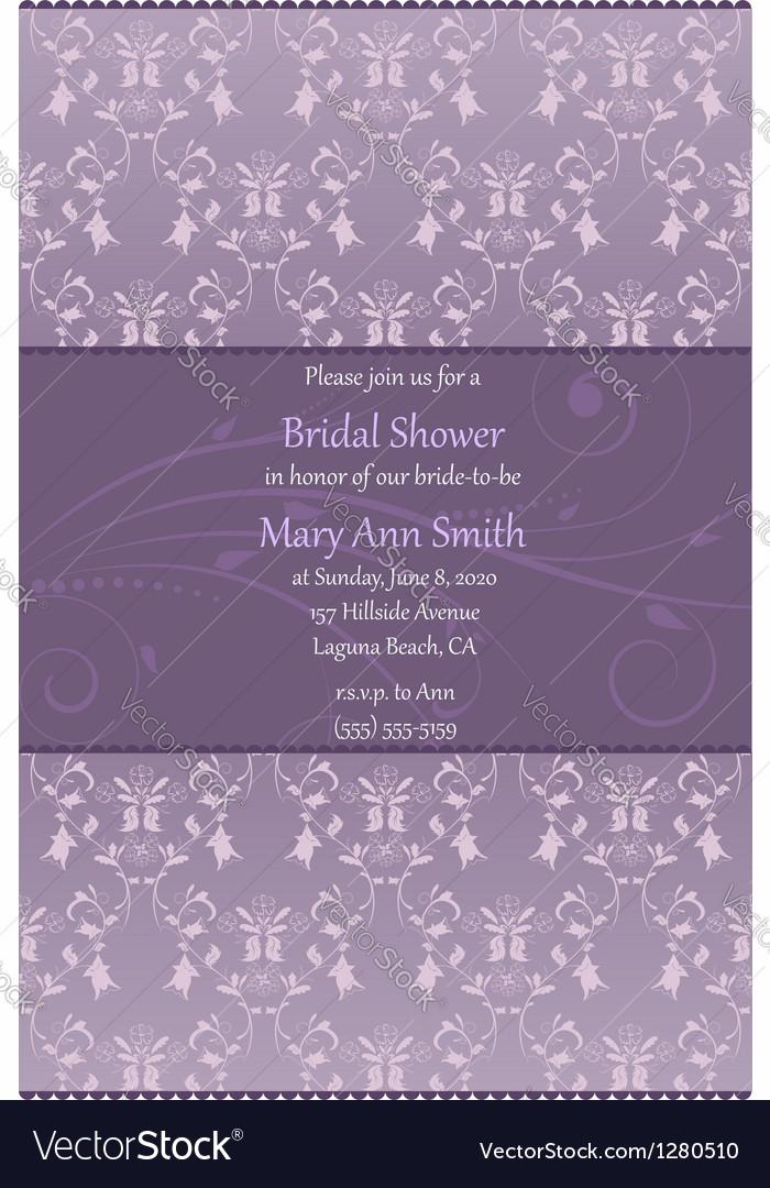 Violet bridal shower invitation