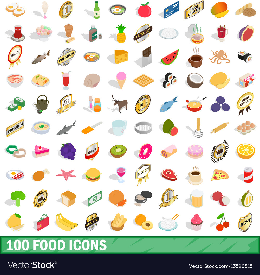 100 food icons set isometric 3d style