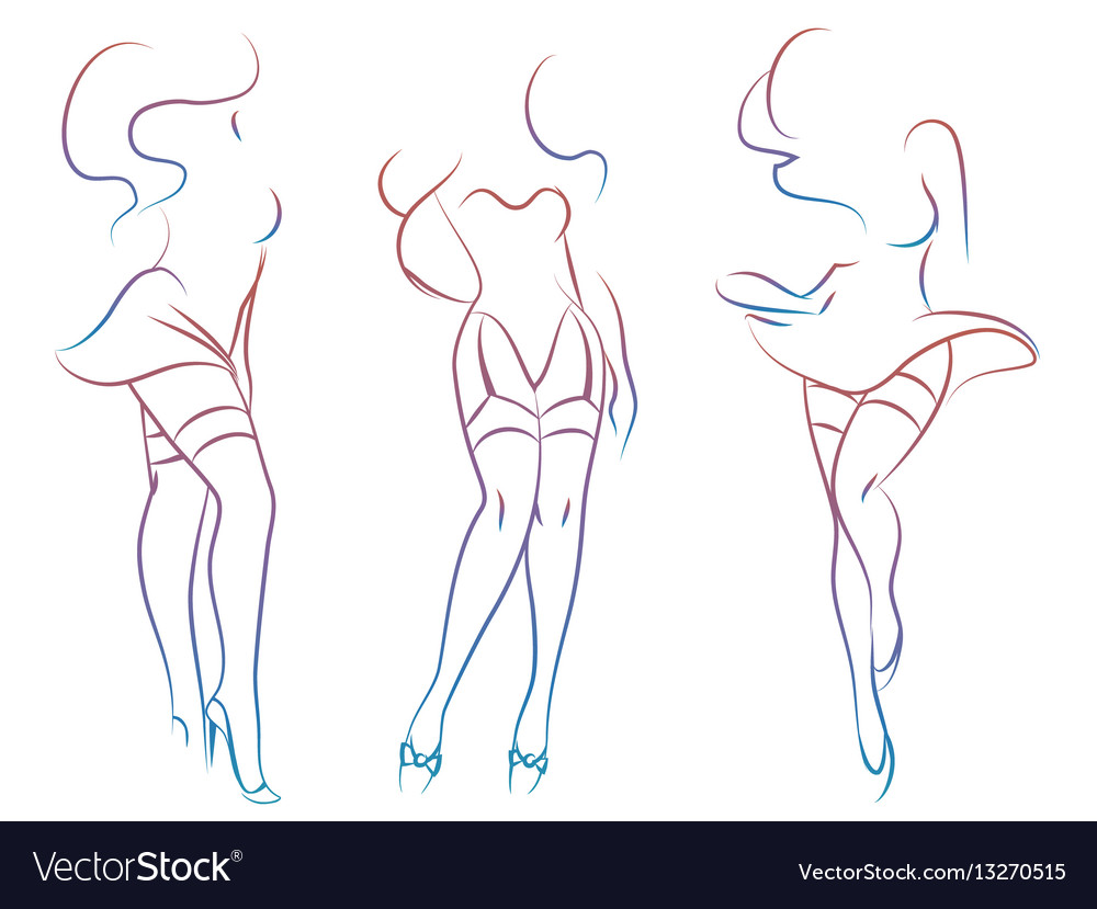 Colorful sexy woman silhouettes vector image