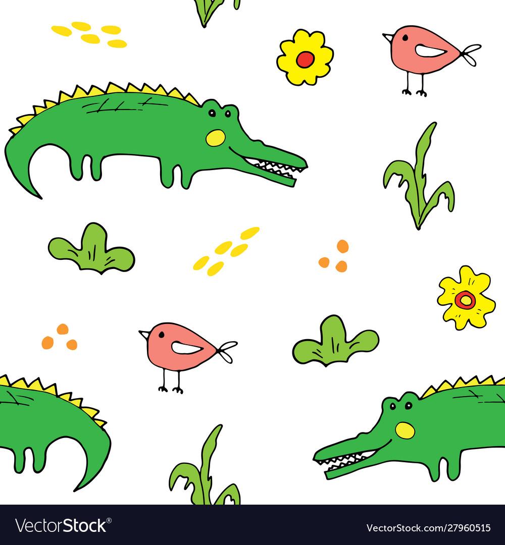 Cute crocodile or alligator with little bird