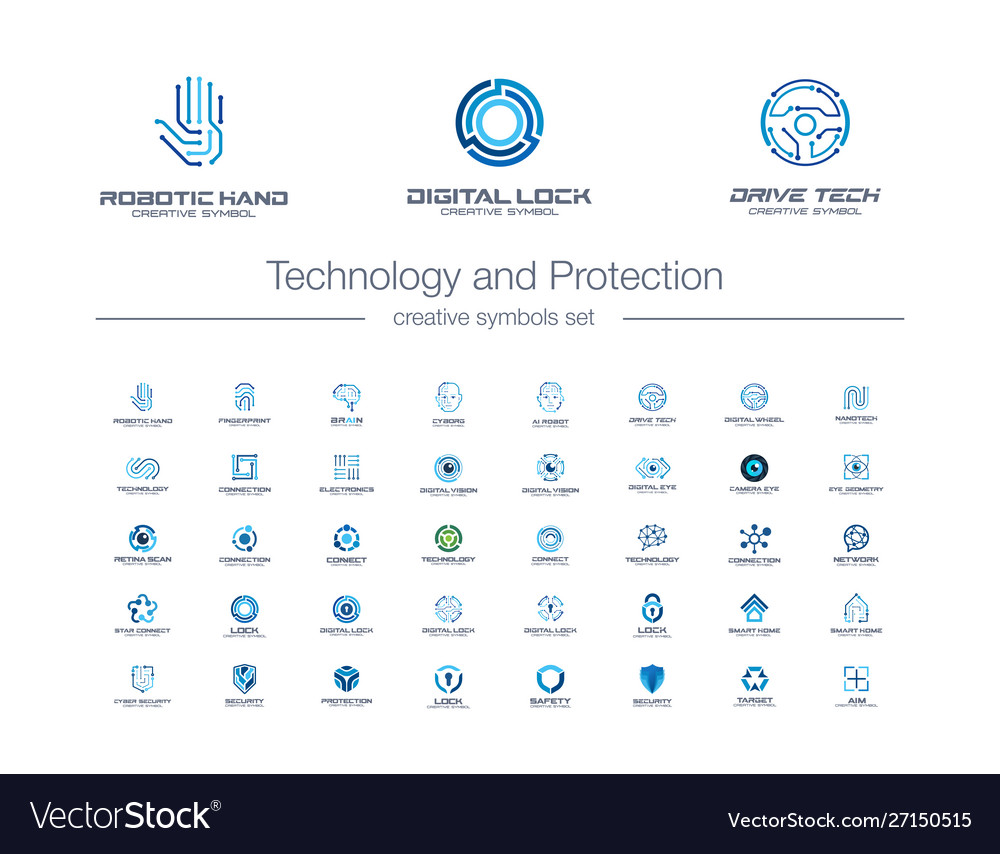 Digital technology and protection creative symbols