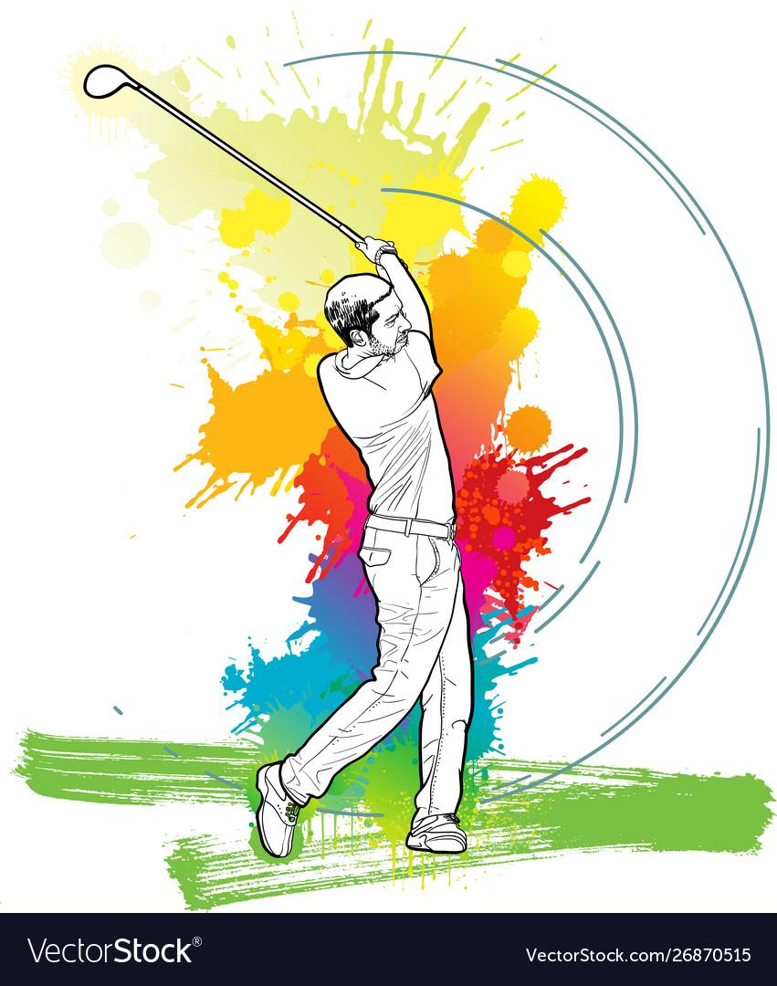 Golf player a man kicking golf ball