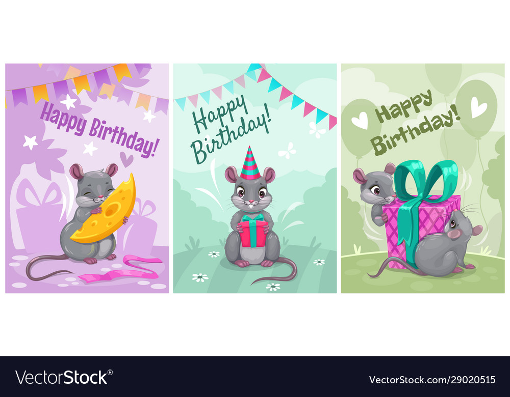 Happy birthday cute greeting cards with