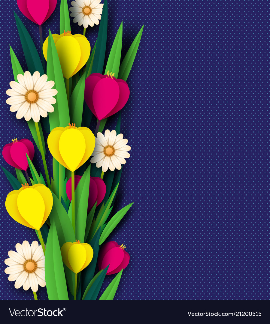 Paper cut spring flowers tulip and chamomiles