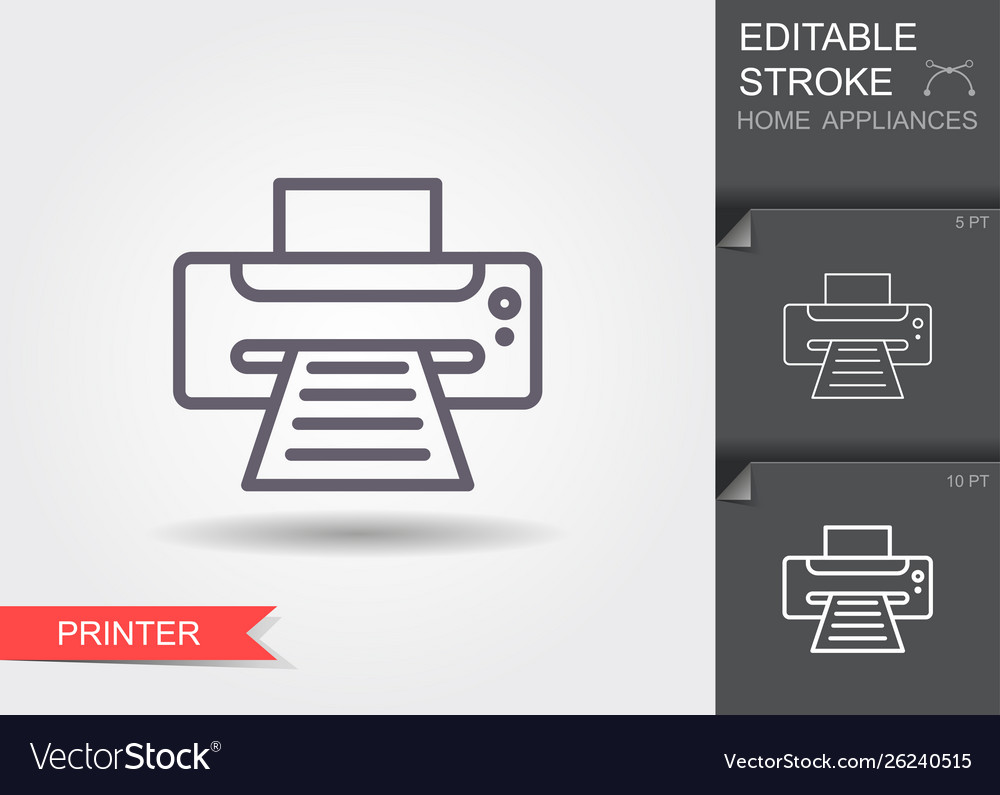 Printer line icon with editable stroke with