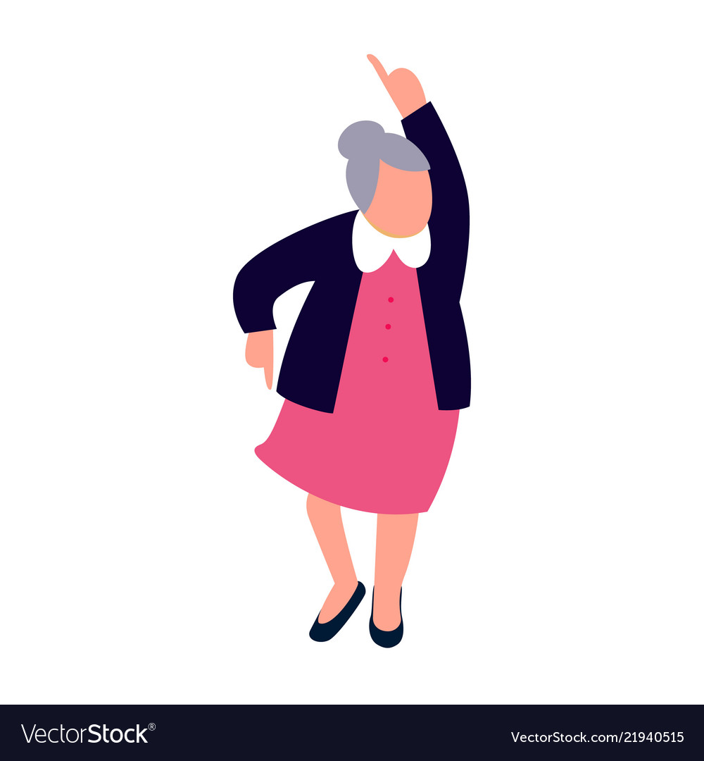 Senior Woman Dancing Happy Old Lady Dance Vector Image