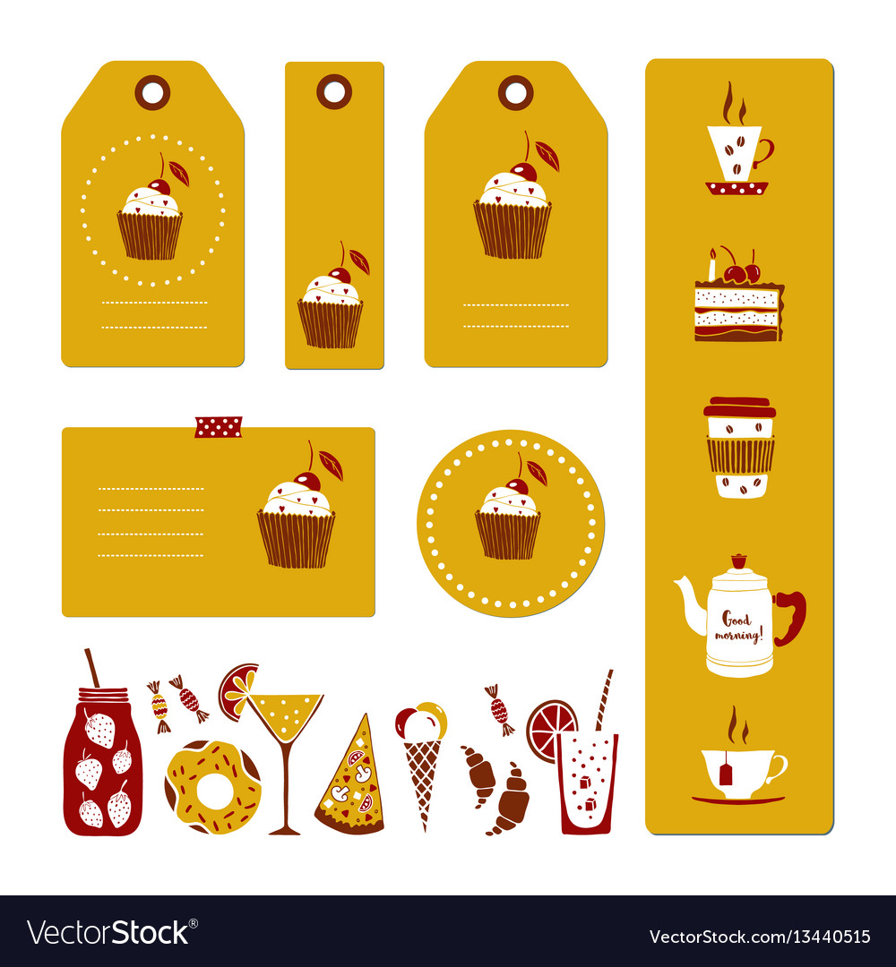 Set of drinks and dessert tags