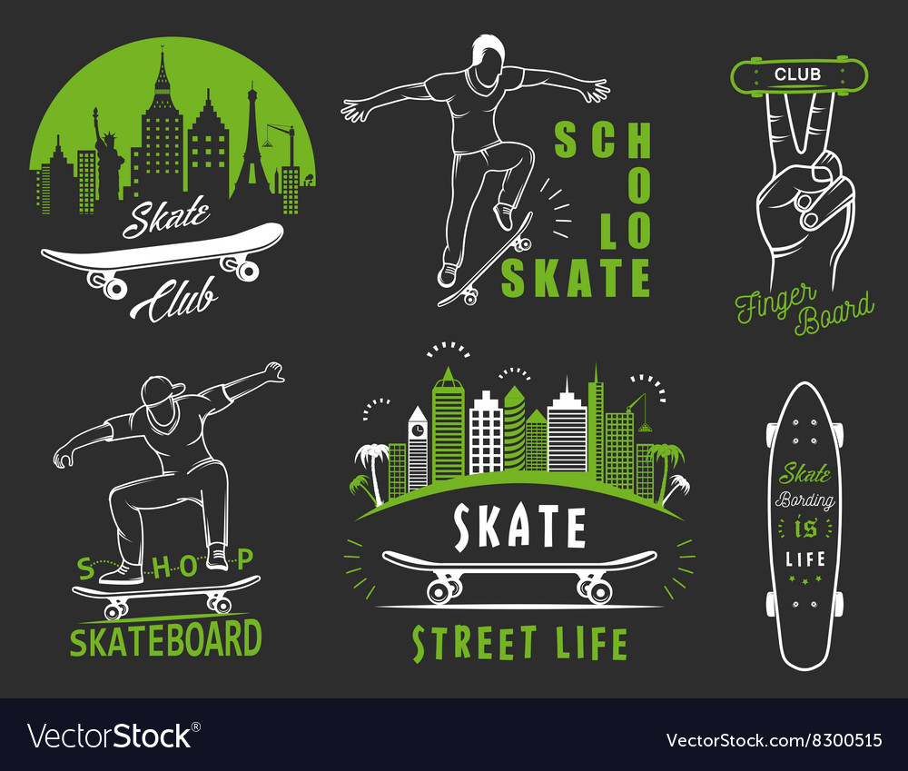 Set Retro Skateboarding Logo and Badge