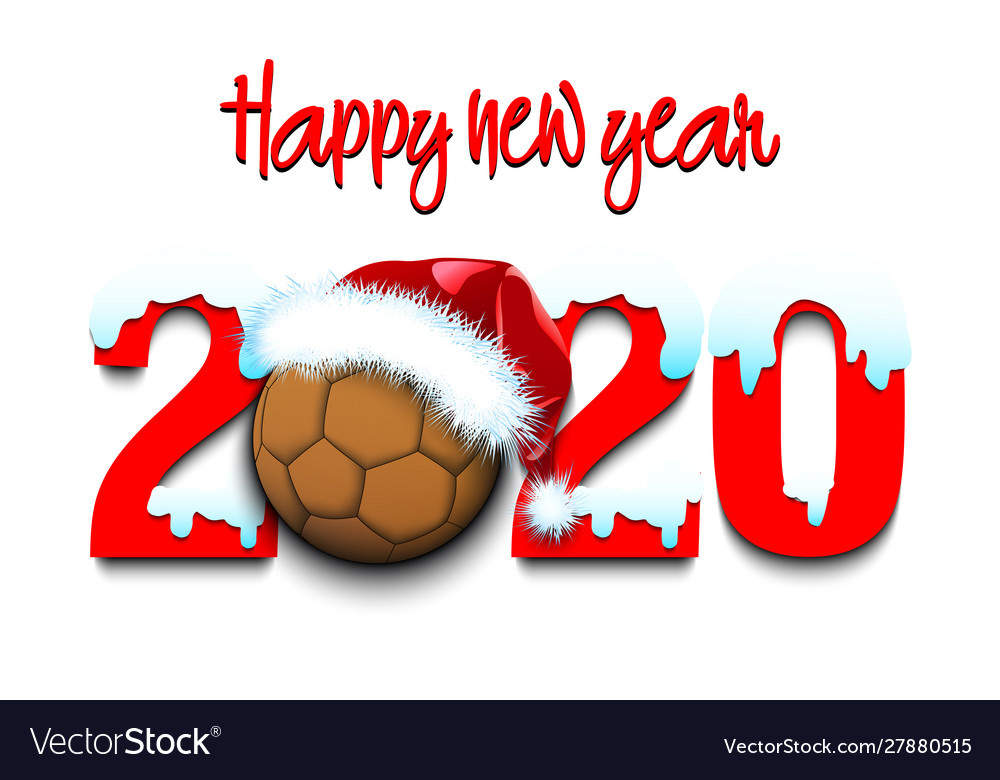 Snowy New Year Numbers 2020 And Handball Ball