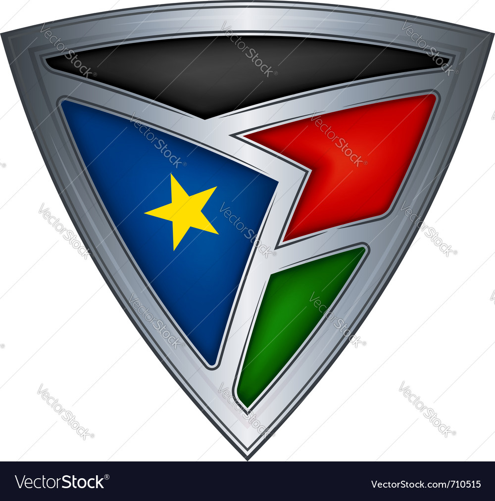 Steel shield with flag south sudan