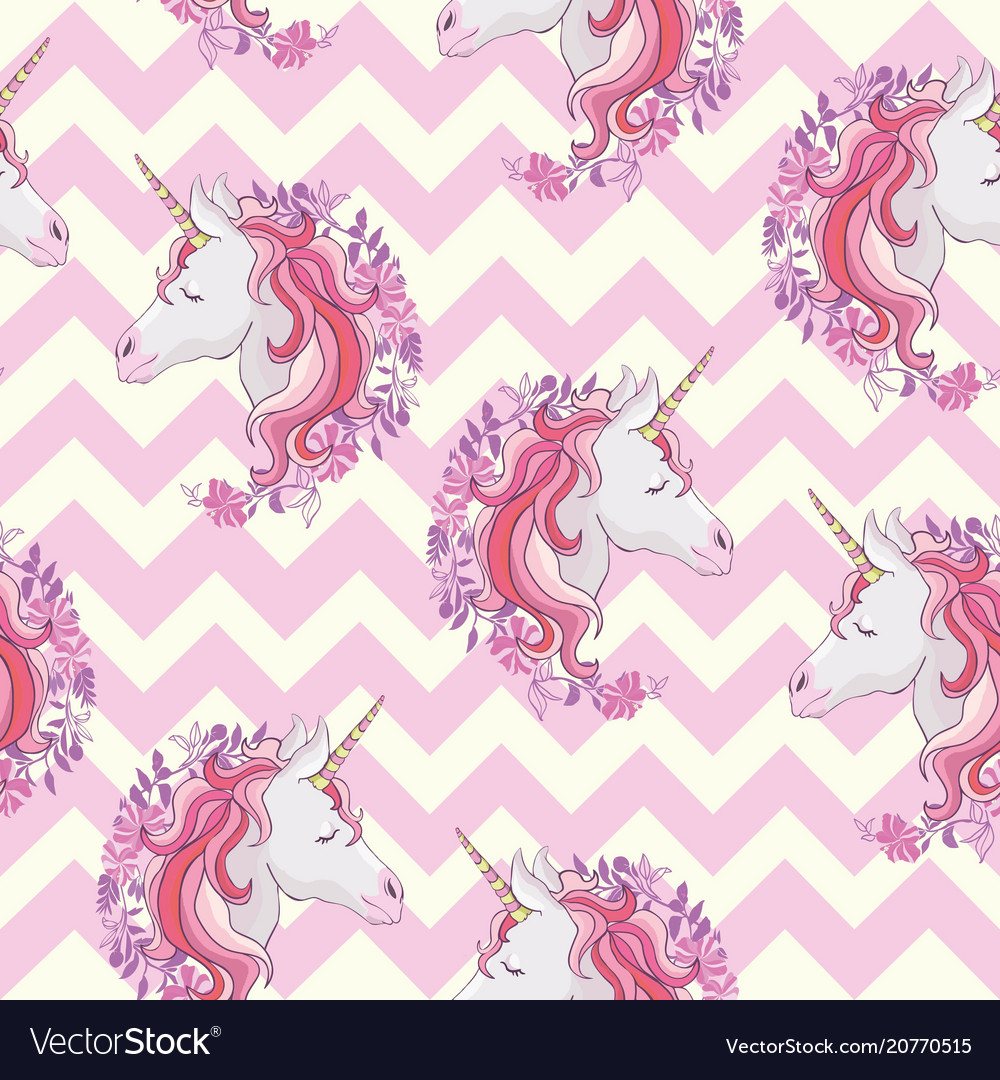 Unicorn seamless pattern unicorns with rainbow