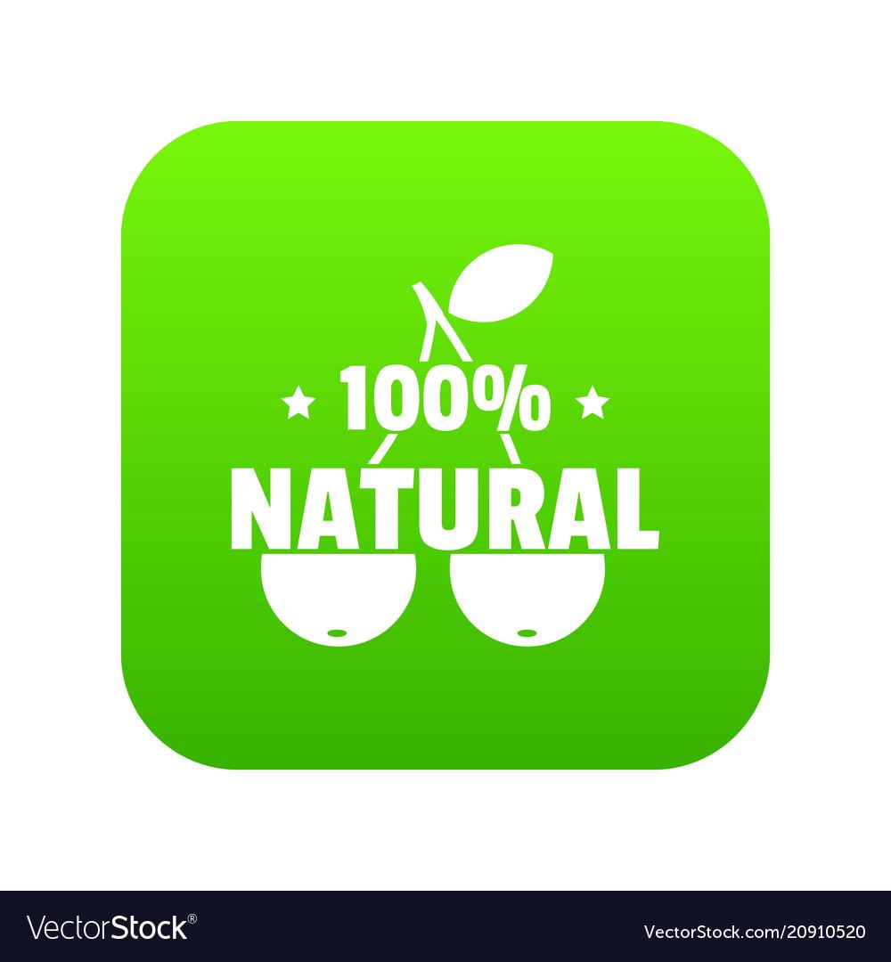 100 percent natural icon green vector image