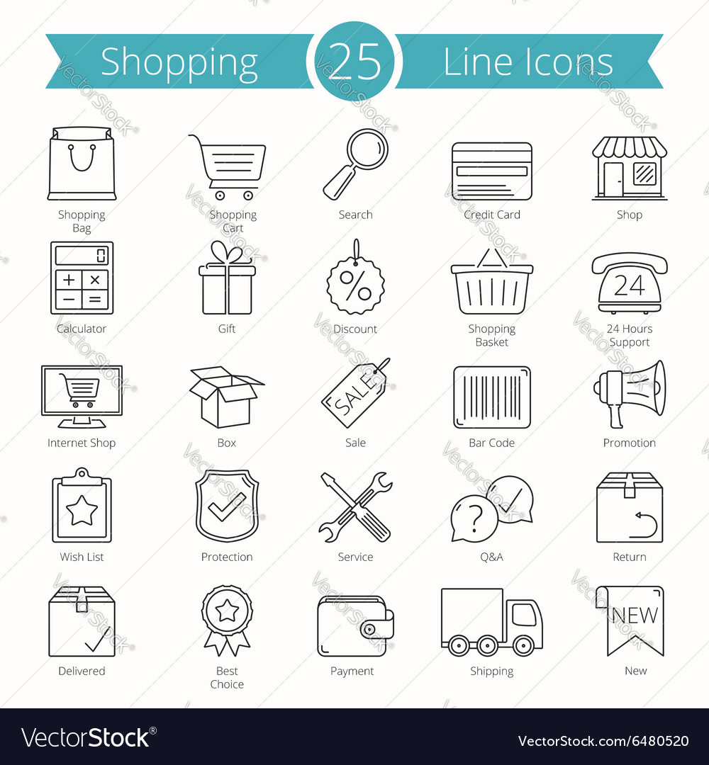 25 Shopping Line Icons