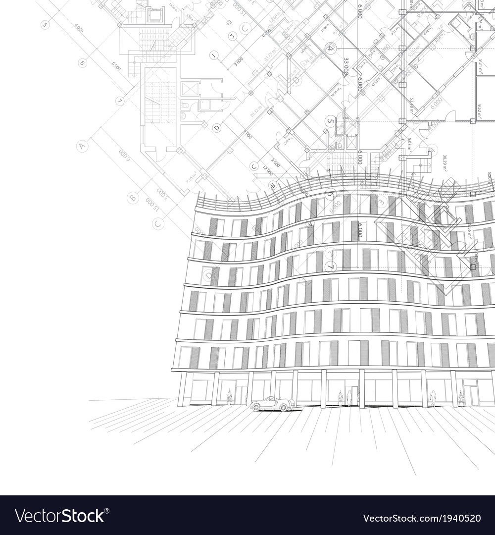 Architectural Background With Building And Plans Vector Image