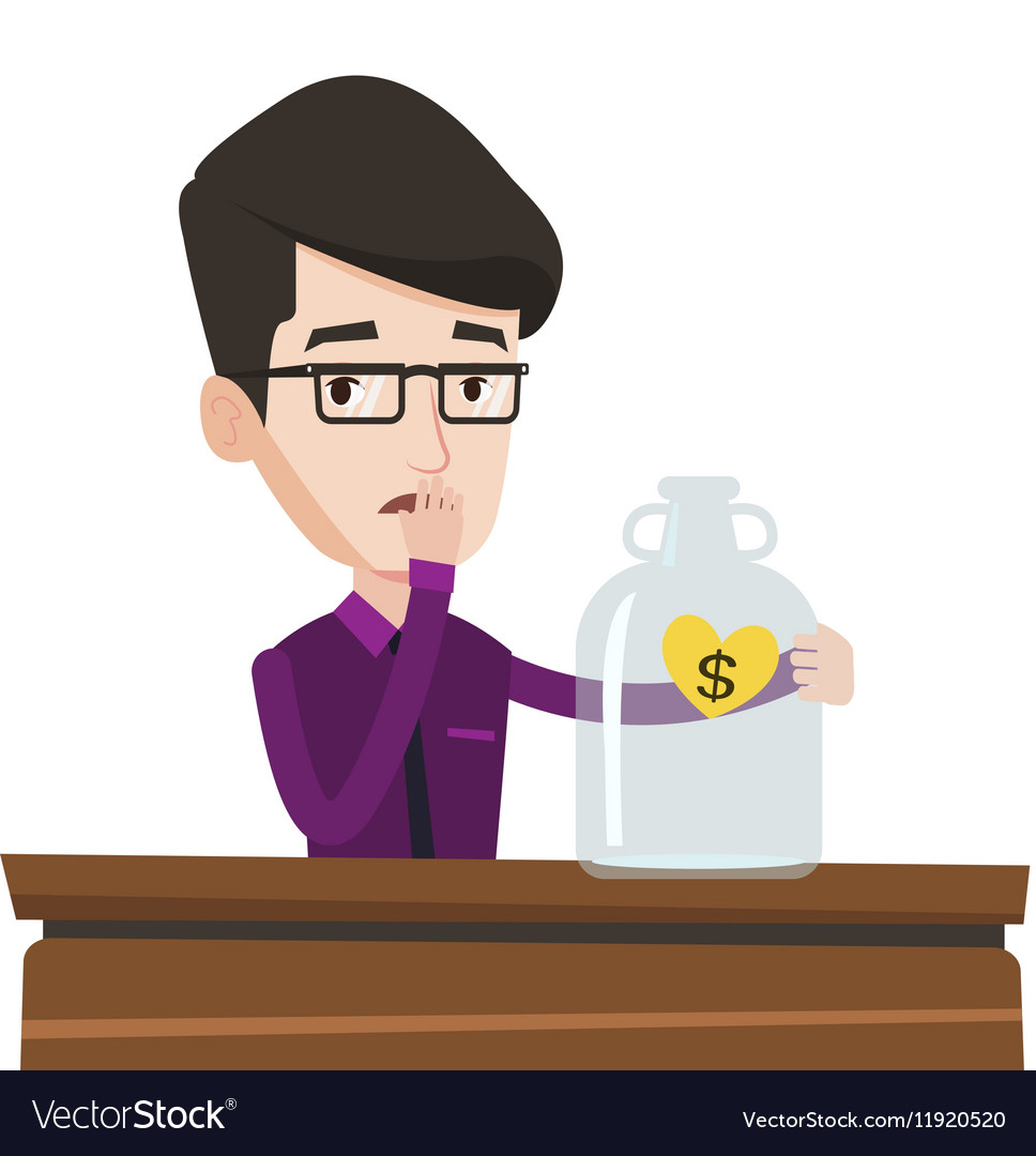 Bankrupt businessman looking at empty glass jar