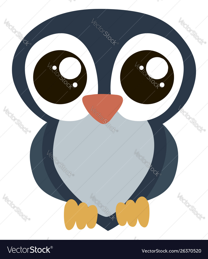 Cute owl with big eyes on white background