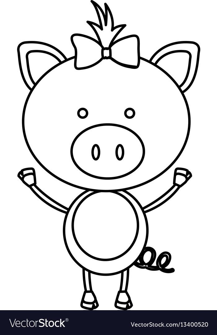 Figure teddy pig bow head