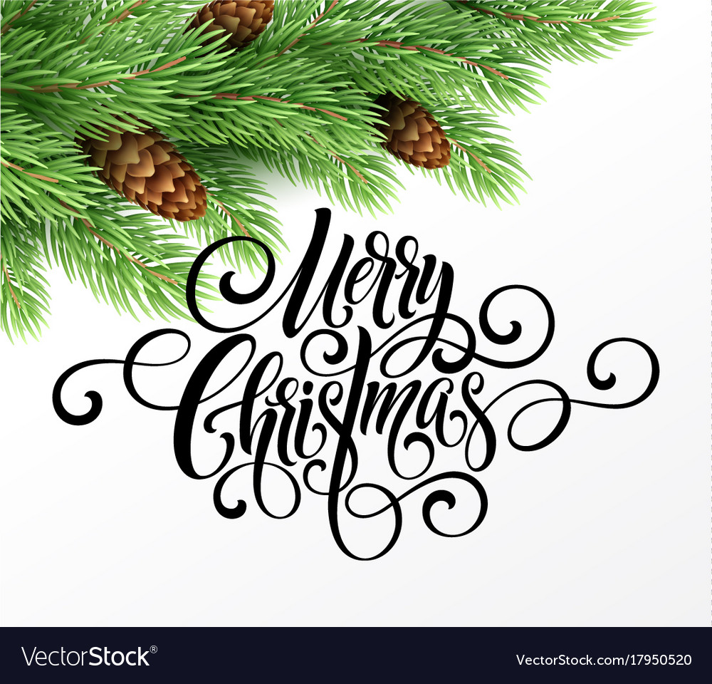 Greeting card with christmas tree and calligraphic