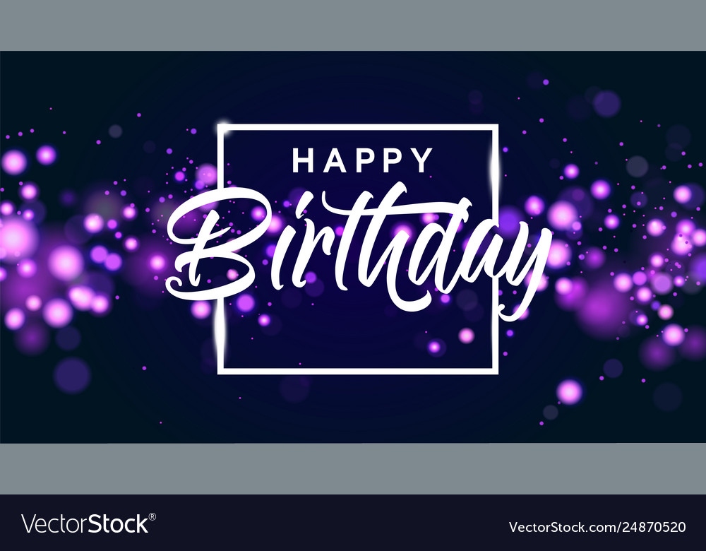 Happy birthday blue bokeh sparkle glitter luxury Vector Image