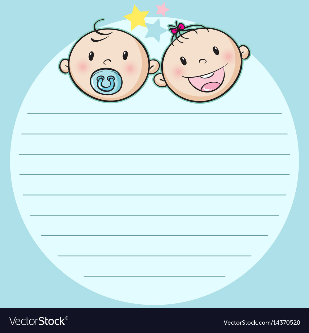 Paper design with two babies vector image