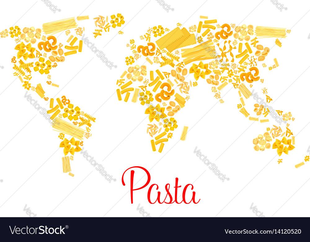 Pasta or italian macaroni world map
