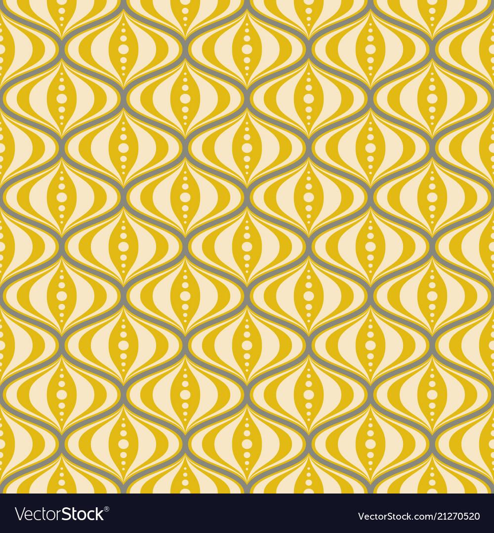 Retro mid-century yellow saucer seamless pattern