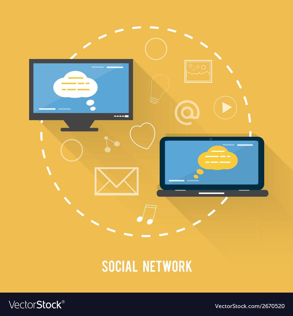 Social network concept in flat design