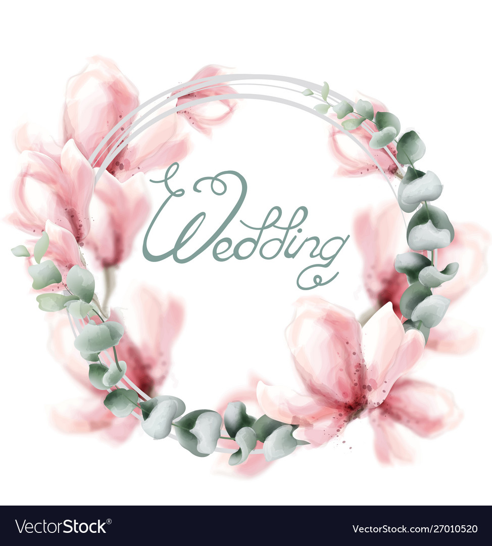 Wedding wreath with pink flowers watercolor