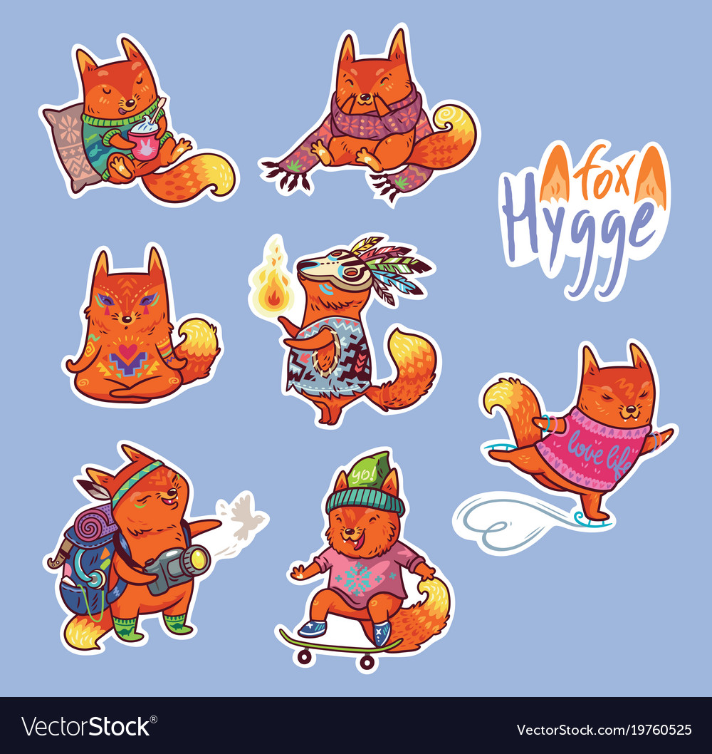 Animal set of stickers with fox
