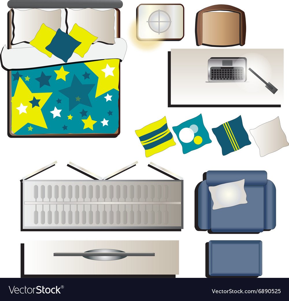 Bedroom Top View Set 3 For Interior Royalty Free Vector