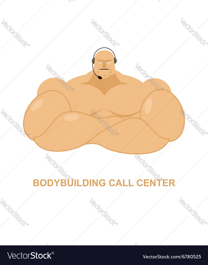 Bodybuilding call Center Athlete with headset Man vector image