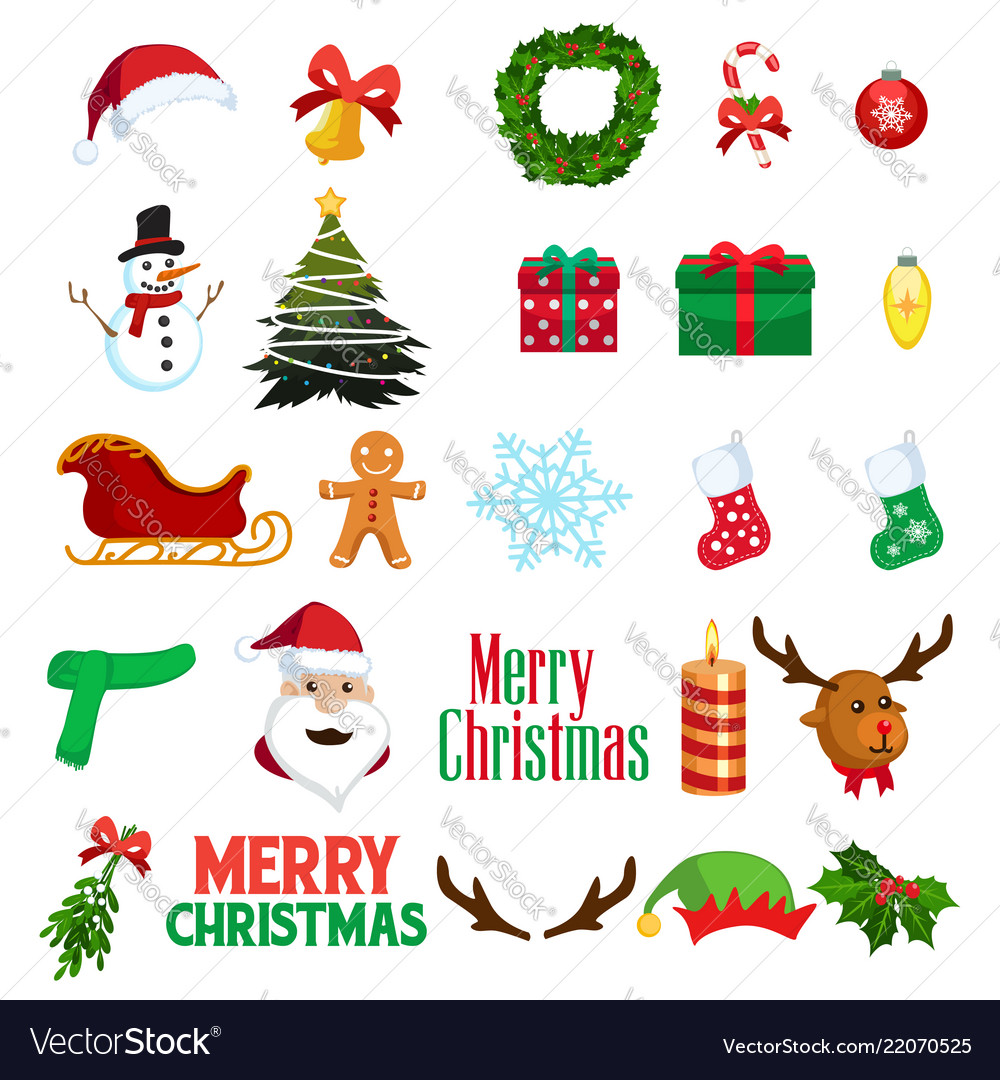 christmas winter clipart icons royalty free vector image vectorstock