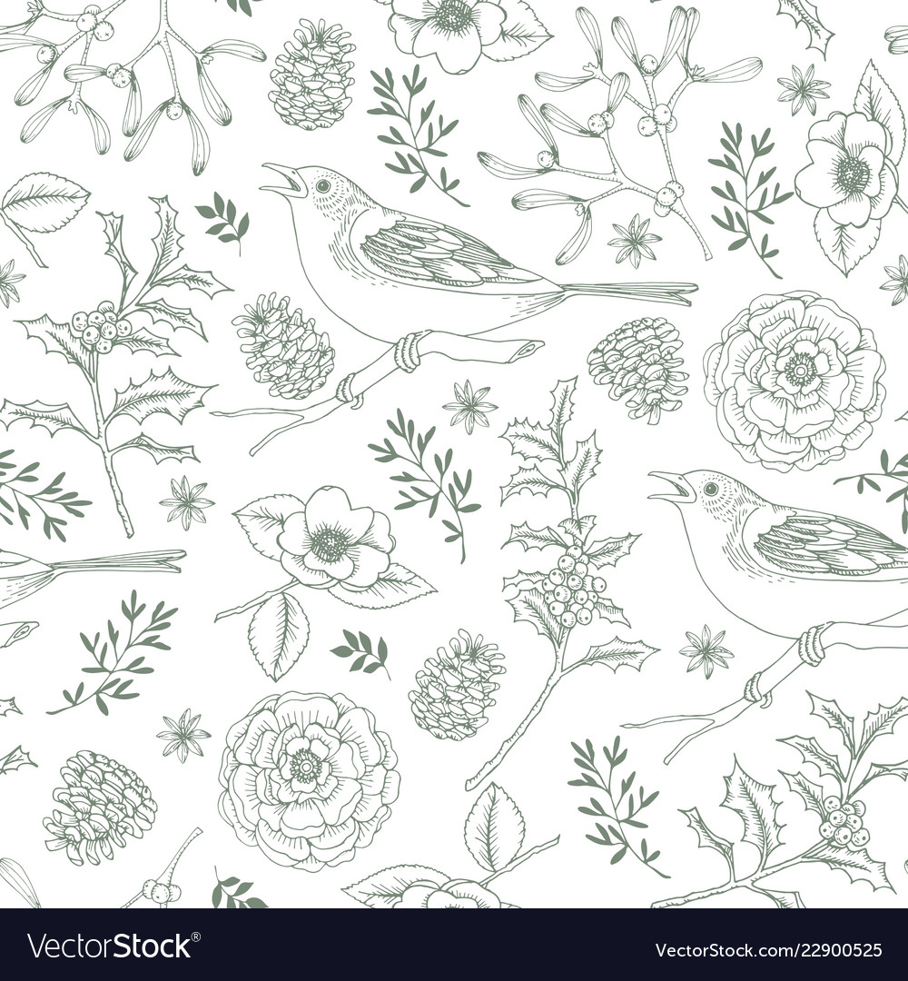 Elegant hand drawn christmas seamless pattern with