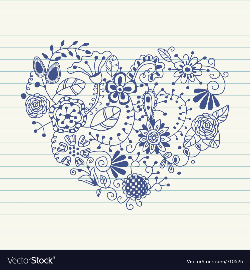 Floral Heart Made Of Flowers Doodle Vector Image