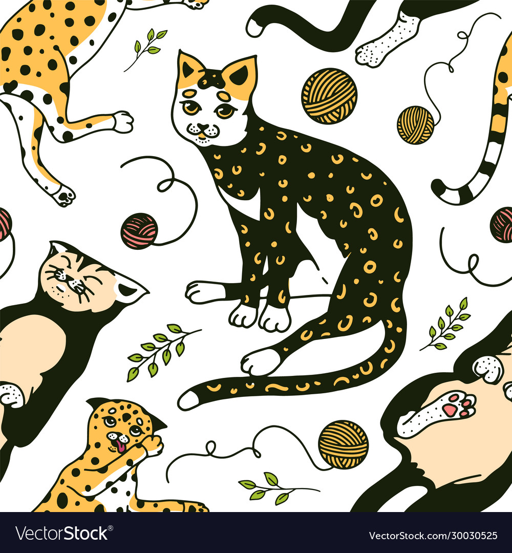 Funny cats seamless pattern or background cute