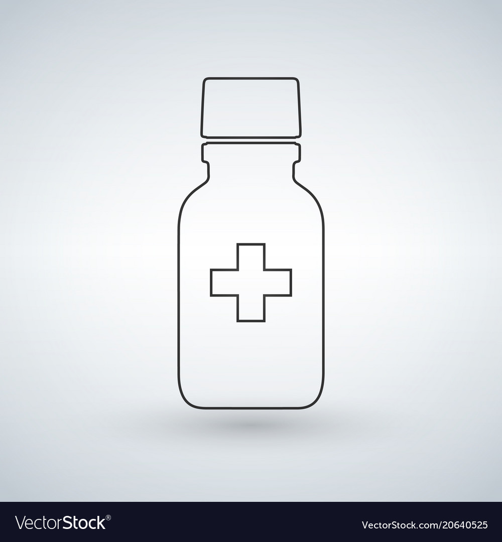 Linear pill bottle icon with medical cross modern