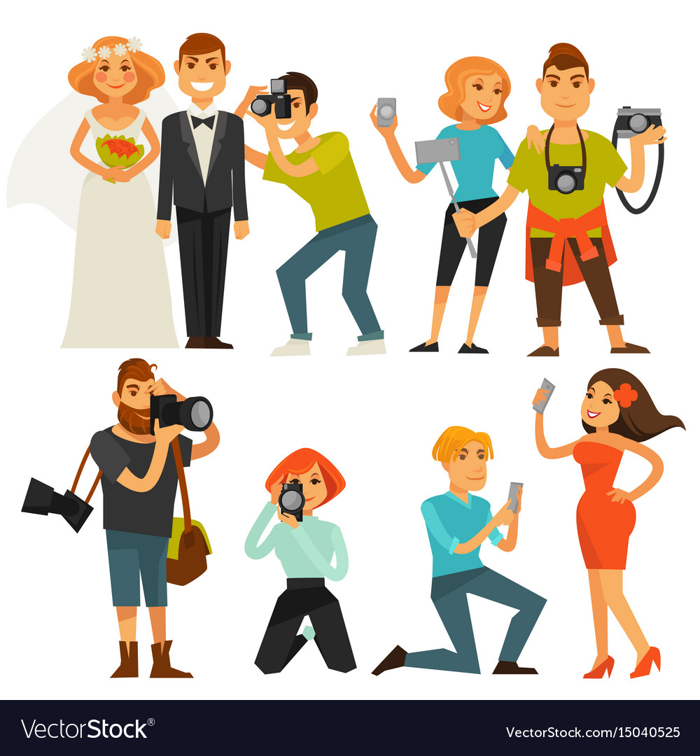 Photography and photographers at travel wedding vector image